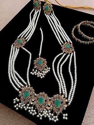 Indian Bridal Jewellery Set - Pearls, Gold Plated With Turquoise, Diamanté Gems