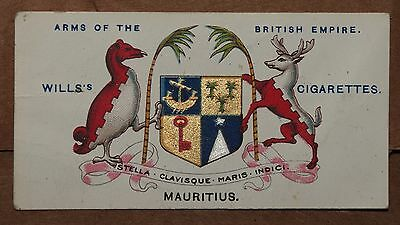 VINTAGE~WILLS~CIGARETTE~CARD~ARMS~OF~THE~BRITISH~EMPIRE~MAURITIUS~NUMBER~No~#~10