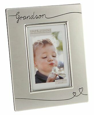 "Two Tone Silver Plated Grandson 4"" x 6"" Photo Frame"