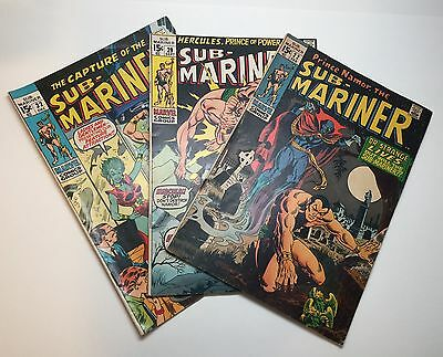 Sub-Mariner Marvel Comics Lot Of 3 Books Lower Grade Silver/Bronze Age