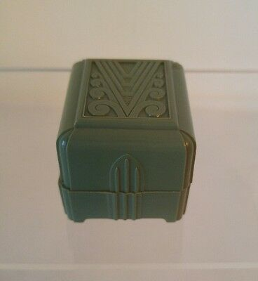 Vintage Art Deco Ring Box - Green Lucite - Crushed Velvet Insert - USA - Wonderf