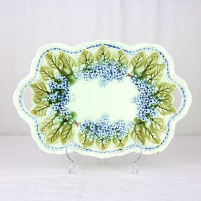 Antique Majolica Dish Patter Blue Lilac Flowers Display Piece English
