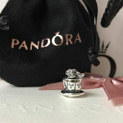 Genuine PANDORA Be Mine Mouse in the Tea Cup Charm NEW in Pouch