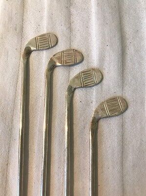 Vtg Mexico Sterling Silver Drink Stir Stirrers Golf Clubs Great Masters Parties