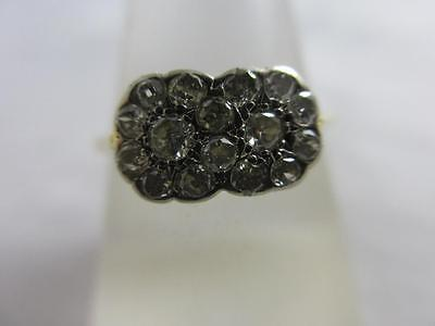 Diamond double daisy set 18k 18ct gold ring antique Edwardian c1910. tbj02299