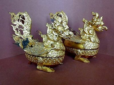 Fantastic Antique Burmese Gilt  Lacquer Hintha Betel Boxes Pair C. 1920's- 1930