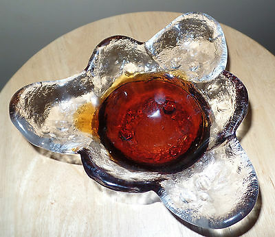 Vintage KIVI Iced Art GLASS Trillium Shape DISH~by Humppila~FINLAND~Signed