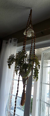 Vintage MACRAME Hippie HANGING Ceiling LAMP with Plastic FERNS Plant~WORKS!