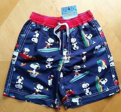 Nwt Hanna Andersson Navy Blue Swim Trunks Shorts Peanuts Snoopy Camp 140 10