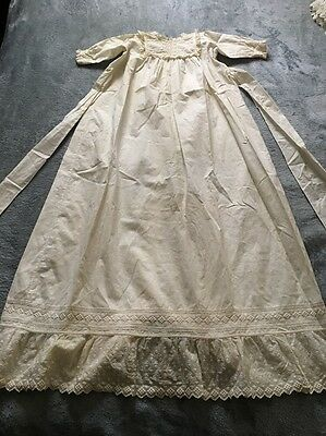 Antique Victorian Baby Crocheted Lace Long Christening Baptism Gown Dress Ivory