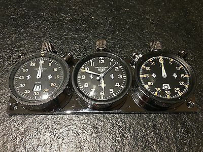 Triple set Heuer dashboard chronographs