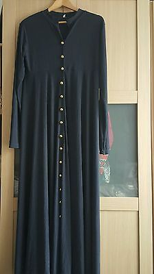 ladies Navy button front maxi dress/abaya jacket. Size 56. REDUCED.