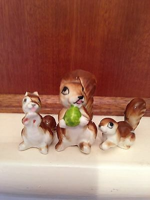Bone China 3 Piece Squirrel Figurine Set