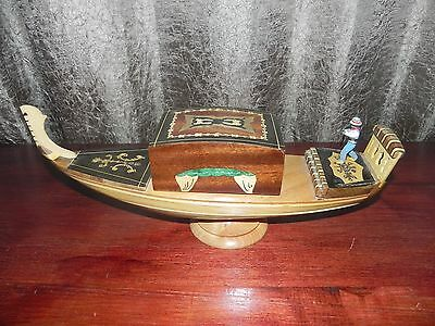 Vintage Wooden Turning Boat Tobacco Cigarette Music Box from Italy