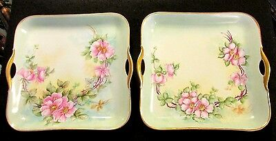 matching pair Bavaria artist signed hand painted pink roses handled platters