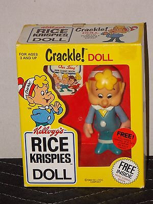 "Kelloggs Rice Krispie Crackle Doll (1984) 4"" Tall + Mini Comic Book Original Box"