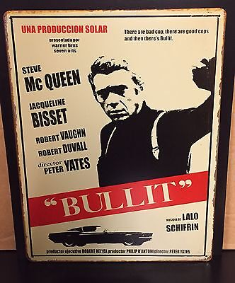 BULLIT  Classic Movie Poster Wall Decor Garage Metal Sign 30x40 Cm Cinema