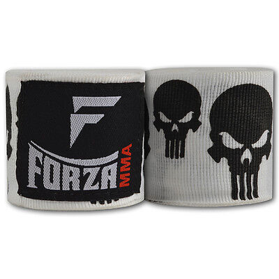 """Forza 180"""" Mexican Style Boxing Handwraps - Skulls White"""