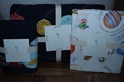 NWT Pottery Barn Kids Eric Astronaut twin quilt, sham & sheet set outer space