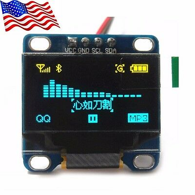 "DIYmall 0.96"" Yellow& Blue 128X64 OLED I2C IIC Serial LCD LED Display Module"