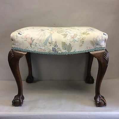 English Mahogany Ball & Claw Needlepoint Footstool w/Shell Motif on Knee 20""