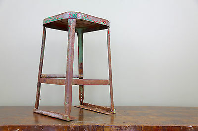 "Vintage LYON 24"" Tall Metal Industrial Shop Bar Stool Paint Splatter Patina"