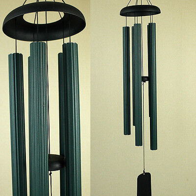 Large Hand Tuned Musical Scale Green Ribbed Metal Wind Chime Outdoors 112cm