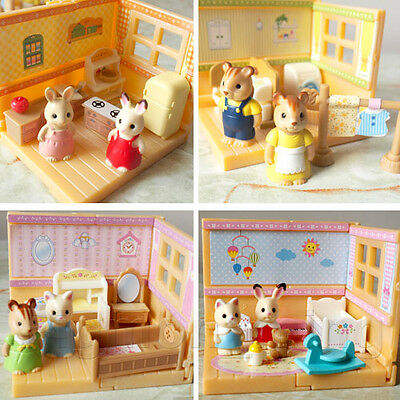 Epoch Capsule Sylvanian Families Home With Furnitures Figures Full Set of 4 pcs