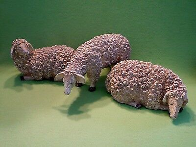 Set of 3 large SHABBY CHIC SHEEP figurines. Great poses. Cute faces ! VGC
