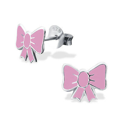 925 Sterling Silver Pastel Pink Bow Ribbon Kids Girls Stud Earrings  Party Gift
