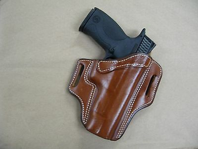S&W Smith & Wesson M&P 45 Leather 2 Slot Molded Pancake Belt Holster TAN RH