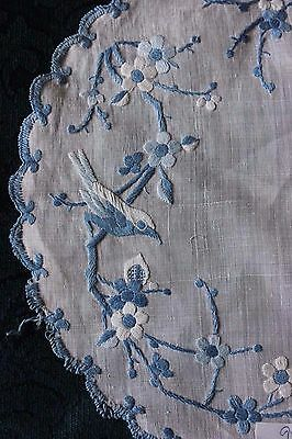 2 Antique 19thC Hand Embroidered Birds & Roses~Indigo Blue Cotton On Fine Linen