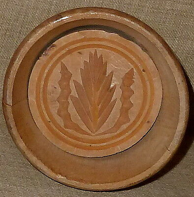 Nice PRIMITIVE HAND MADE & CARVED WOODEN BUTTER MOLD BUTTER PRESS TREEN~THISTLE
