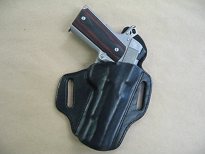 "1911 PIstol 5"" OWB Leather 2 Slot Molded Pancake Belt Holster CCW BLACK RH"