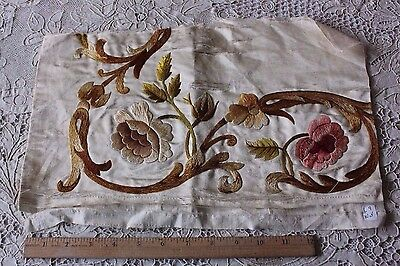 Antique Victorian Silk On Silk Hand Embroidered Roses & Scrolls c1860-1870