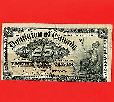 1900 Dominion Of Canada 25 Cent ( Shinplaster ) Bank Note