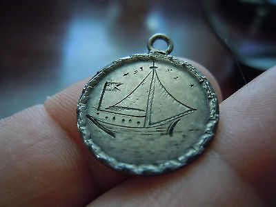 Stunning Love Token Dime Sized Coin Sailboat Flag Initials Engraved Both Sides