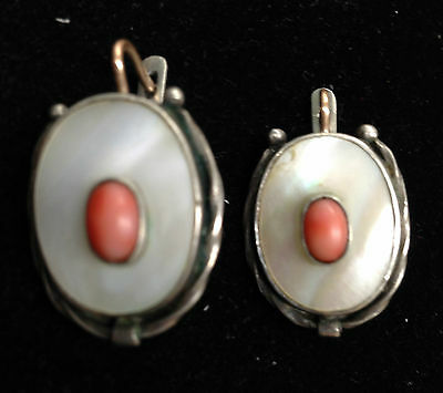 ANTIQUE STERLING SILVER 14K Gold GENUINE MOP SALMON CORAL DANGLE EARRING 12.6 gr