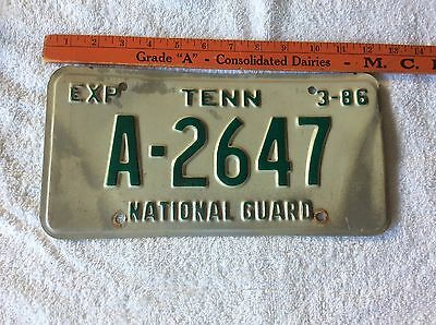 1986 Tennessee License Plate National Guard A-2647