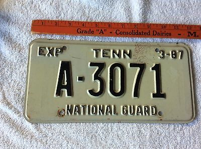 1987 Tennessee License Plate National Guard A-3071
