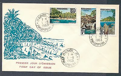 Cambodia 1963 Water Tourism Sites cachet unaddressed FDC