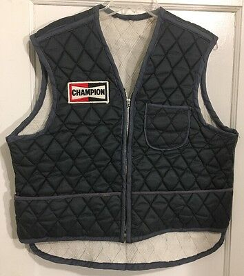 Vintage Champion Spark Plug Patch On Vintage Quilted Puff Mechanic Vest