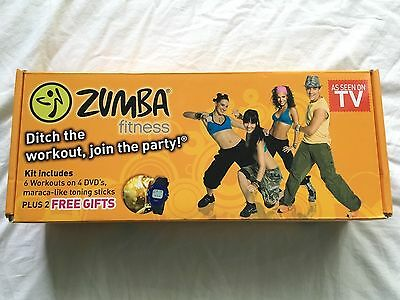 UNUSED ZUMBA Fitness Exercise Kit - 7 Workouts/5 DVDs,Toning Sticks,Pulse Watch