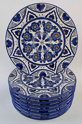 """NEW MAC'B France Faience Blue & White Floral Pottery Plates 10 1/4"""" Set of 8"""