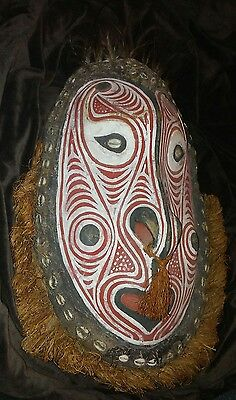 Unique rare new guinea tribal mid century? wooden mask shells feathers red white