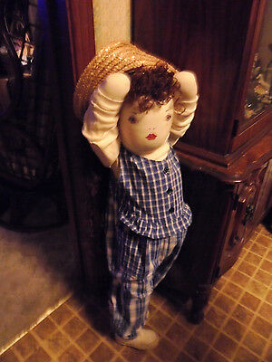 """Vintage Handmade Doll..stand In Corner....shy...38""""..nice Hair & Clothes..face"""