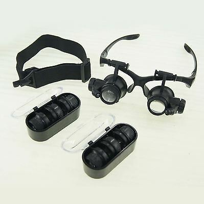 Eye Glass Loupe Jeweler Magnifier Magnifying Watch Repair With LED Light