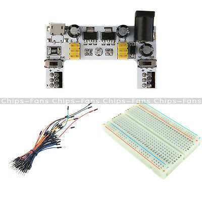 MB102 Power Supply Module Solderless+ Mini Breadboard 400+65PCS Jump Cable Wires