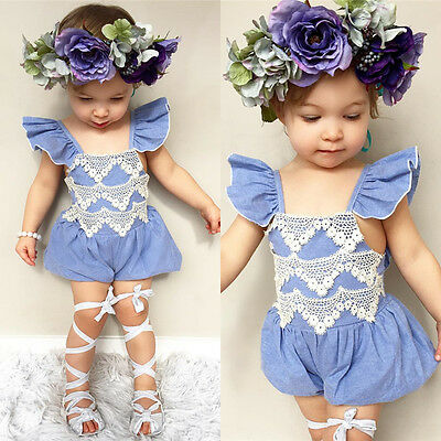 Newborn Infant Baby Girl Denim Lace Romper Bodysuit Jumpsuit Outfit Sunsuit 0-2T