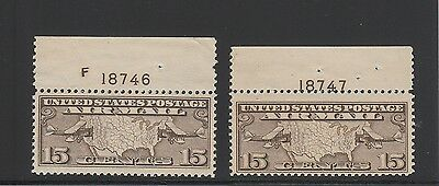 [64733] USA AIRMAIL Scott #C8, LOT of 2, with PLATE #, MINT NH